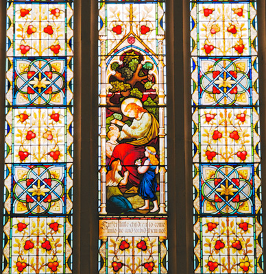 Holy Trinity North Transept window, Suffer the Little Children
